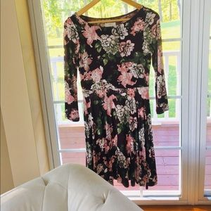 LOFT Long Sleeve Dress Flower Pattern XXSP